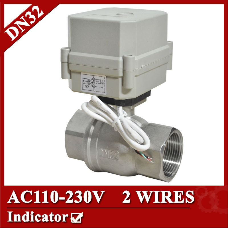 1 1/4 SS304 Electric valve 2 way, DN32 electric actuator valve 2 wires, 110V to 230V electric ball valve with normal close/open tf25 b2 b 2 way dn25 full port power off return valve ac dc9 24v 2 wires normal open valve with manual override