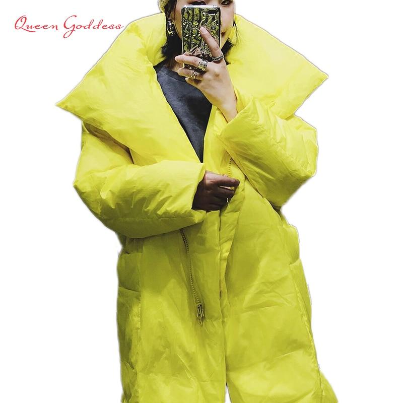 2018 haut de gamme marque qualité Jaune et noir long down femmes hiver chaud veste je-mode parkas plus taille 7 XL spécial poches