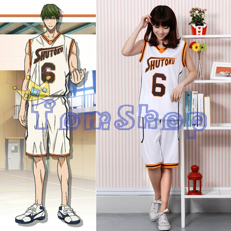 Anime Kuroko no Basuke SHUTOKU No. 6 Midorima Shintaro Basketball Jersey Cosplay Costume Men's Sports Wear Uniform Free Shipping