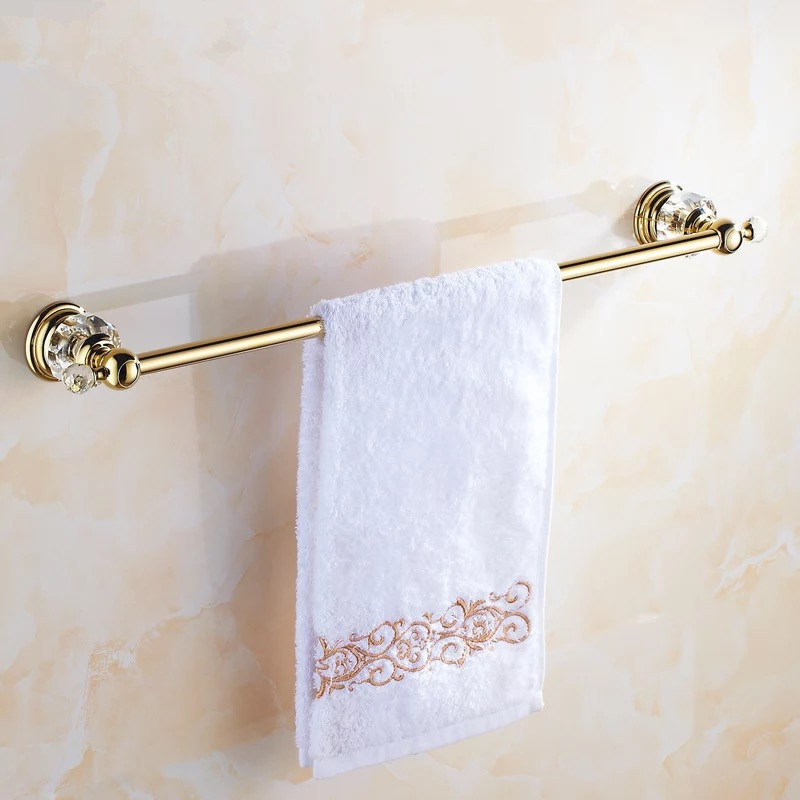 Golden Crystal Single Towel Bar Towel Holder Gold Finished Bath Products Bathroom Accessories