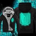 Attanck На Titan Зимой Флуоресценции мужские Толстовки Кофты Повседневная Мужской Куртки С Капюшоном Плащ Мужчины Платок Аниме Толстовки Верхней Одежды
