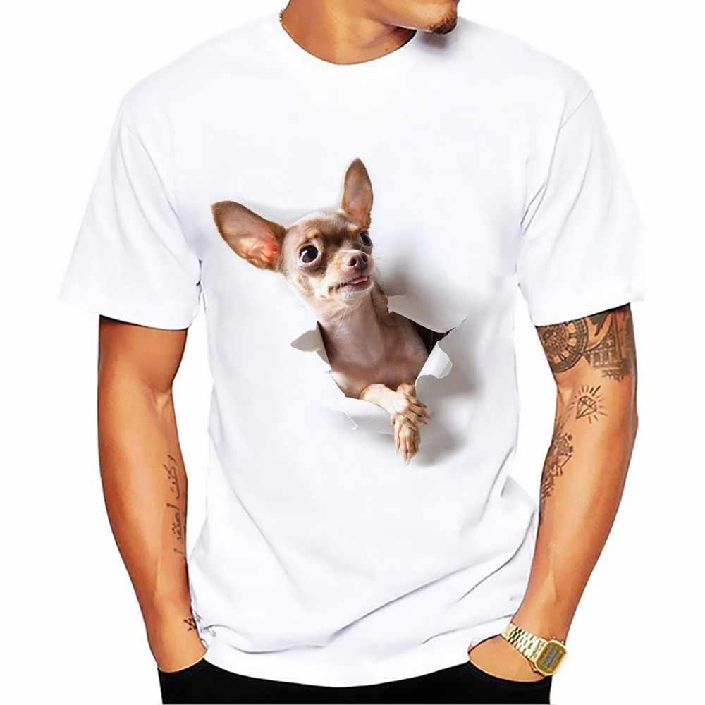 Милые тростниковые Корсо собака разбиваются Яркие 3d футболки мужские 2018 Новые Белые Повседневные Дышащие футболки homme забавные Чихуахуа футболки