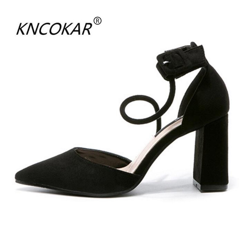 KNCOKAR 2018 The spring new fashionable and beautiful sexy high-end suede lady thick heel sandals geparlys beautiful lady