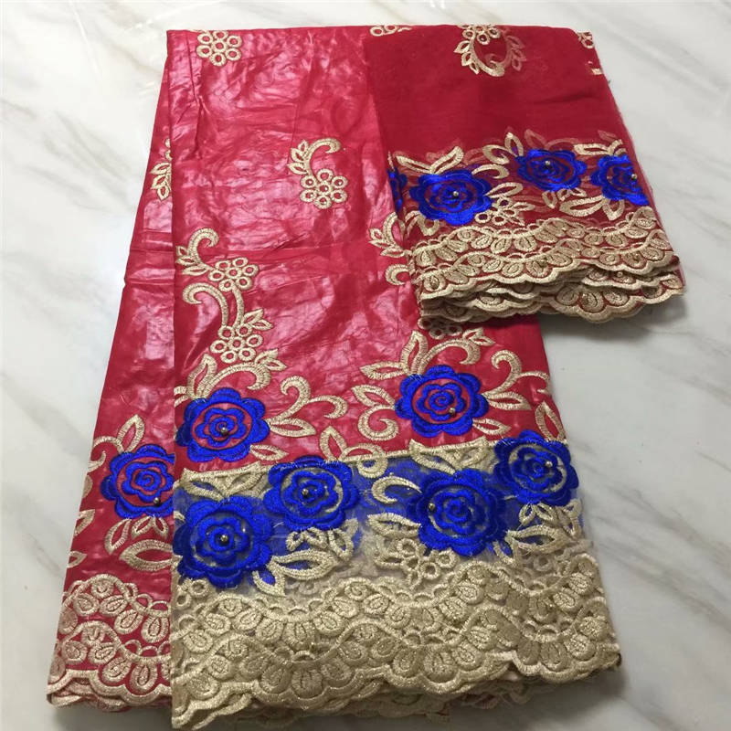 2018 African fabric African tissu bazin riche getzner with beads brode getzner with 2 yards French net lace for party red
