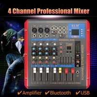 48V Phantom Power 4 channel LCD digital display Audio Music Mixer Mixing Console+Power Adapter for Stage Performance Family