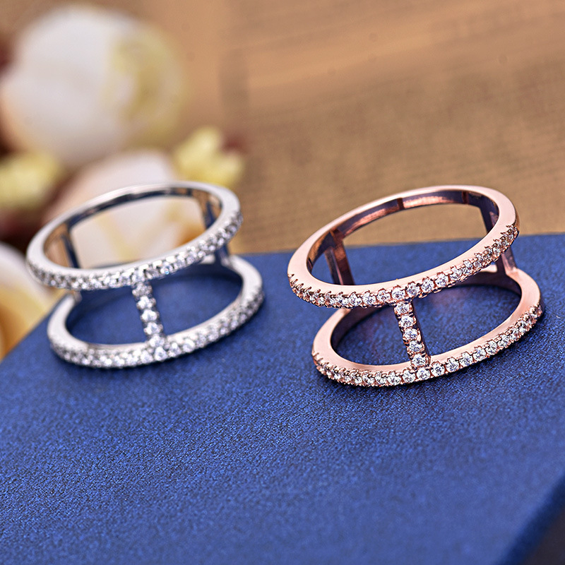 Rose Gold And Silver Color Sample Unique AAA Zircon Nails Wedding Ring Women Jewelry ZK40