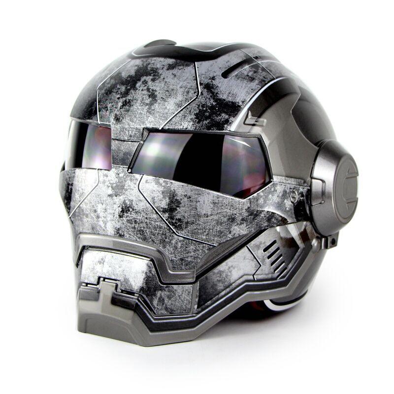 Chaude Noir MASEI IRONMAN Iron Man casque de moto moitié ouvert visage moto casques transformateurs moto casque superma taille M L XL