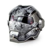 Hot Đen MASEI IRONMAN Iron Man xe máy mũ bảo hiểm nửa mở mặt moto mũ bảo hiểm transformers xe máy mũ bảo hiểm superma kích thước M L XL