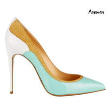 Aiyoway Elegant Women Shoes Pointed Toe High Heel Pumps Patchwork Glitter Autumn Spring Party Dress Shoes Slip On Big Size 5~17 недорого
