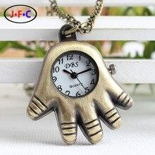 Cinco palma pequeno quartzo relógio de bolso dos desenhos animados criativo retro relógio Azan lista YS033
