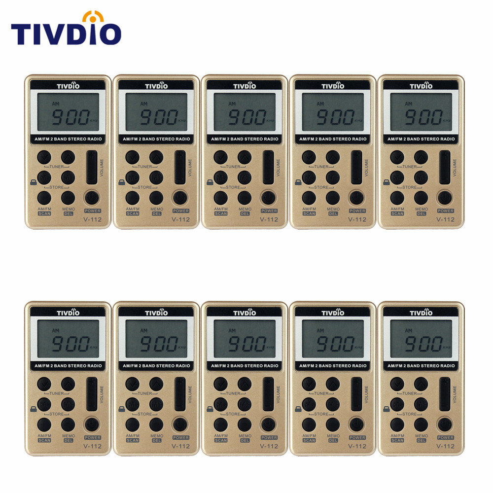 10 pcs TIVDIO V-112 FM/AM 2 Band Mini Radio Pocket Receiver With Rechargeable Battery& Earphone Portable Radio Station F9202 freeshipping tecsun pl 600 full band fm mw sw ssb pll synthesized stereo portable digital radio receiver pl600