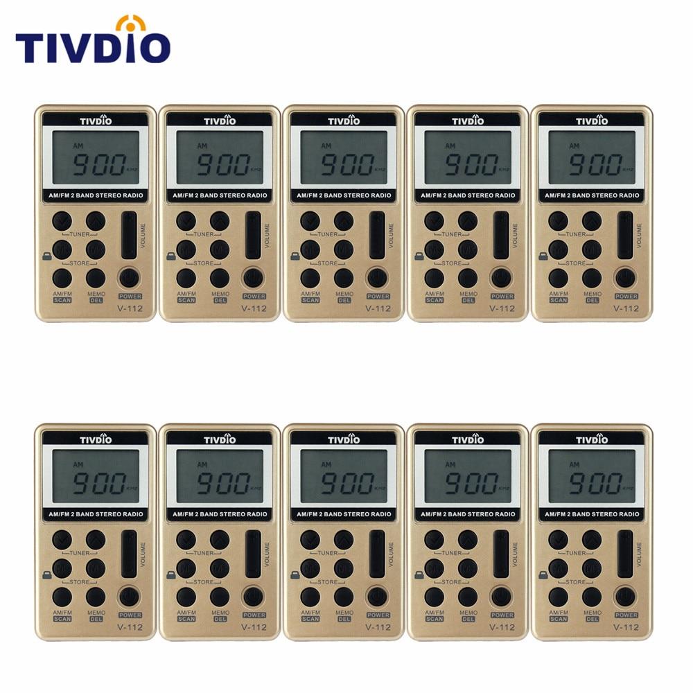 10 шт TIVDIO в-112 FM/АМ 2 группа мини-Радио карманный приемник с аккумулятором наушники Портативные радиостанции F9202
