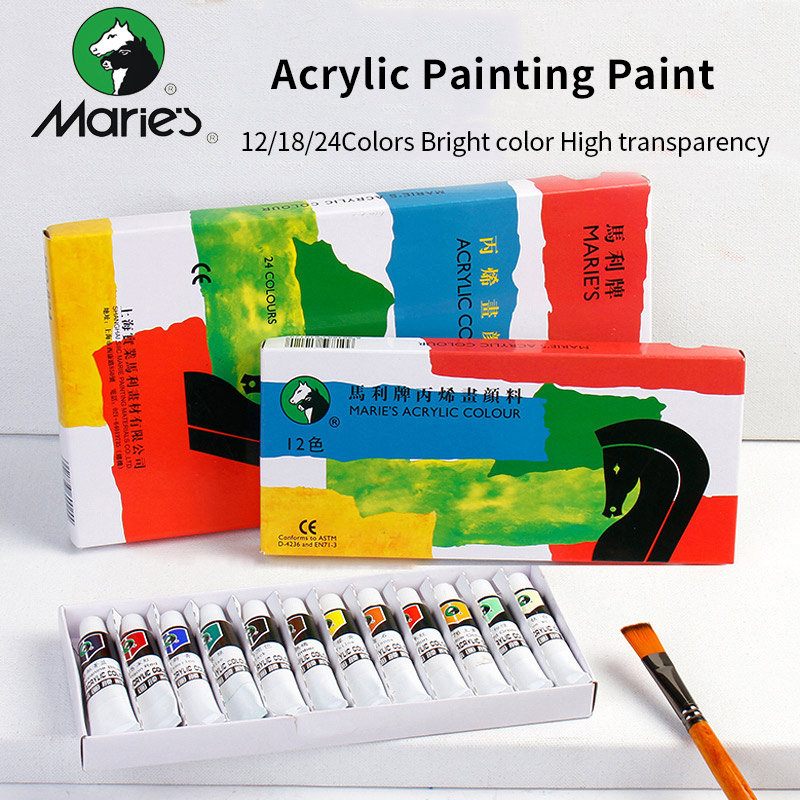 Maries Professional Acrylic Painting <font><b>Paints</b></font> Set 12/18/24 Colors 12ml Hand Painted Wall Drawing Painting Pigment Set Art Supplies