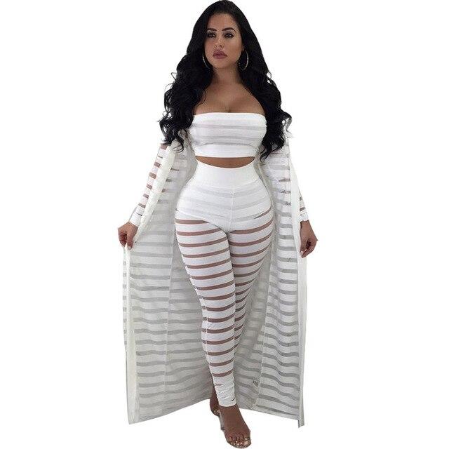 ac3e14b5b90c1 3 Piece Set Women Clothing Mesh Patchwork Sexy Crop Tops Stretch Long Pants  Mamelucos Robe Plus Size Cape Rompers Jumpsuit xxxl
