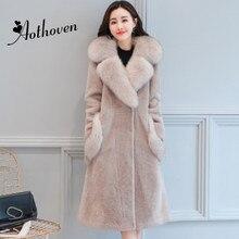 Brand Quality Winter Casual High Imitation Fox Fur Collar Overcoat Fluffy Faux Fur Coat Women Long Section Outerwear Warm Coat