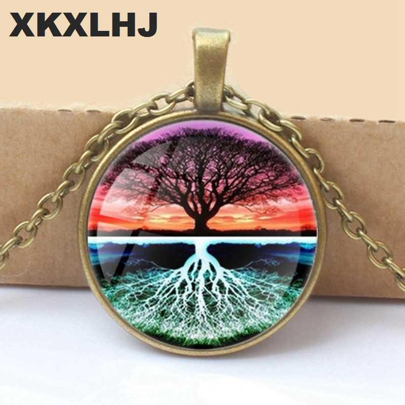 XKXLHJ 2018 New Life Tree Art Photo ทิเบต Silver Bullion แก้วจี้สร้อยคอสร้อยคอเครื่องประดับ