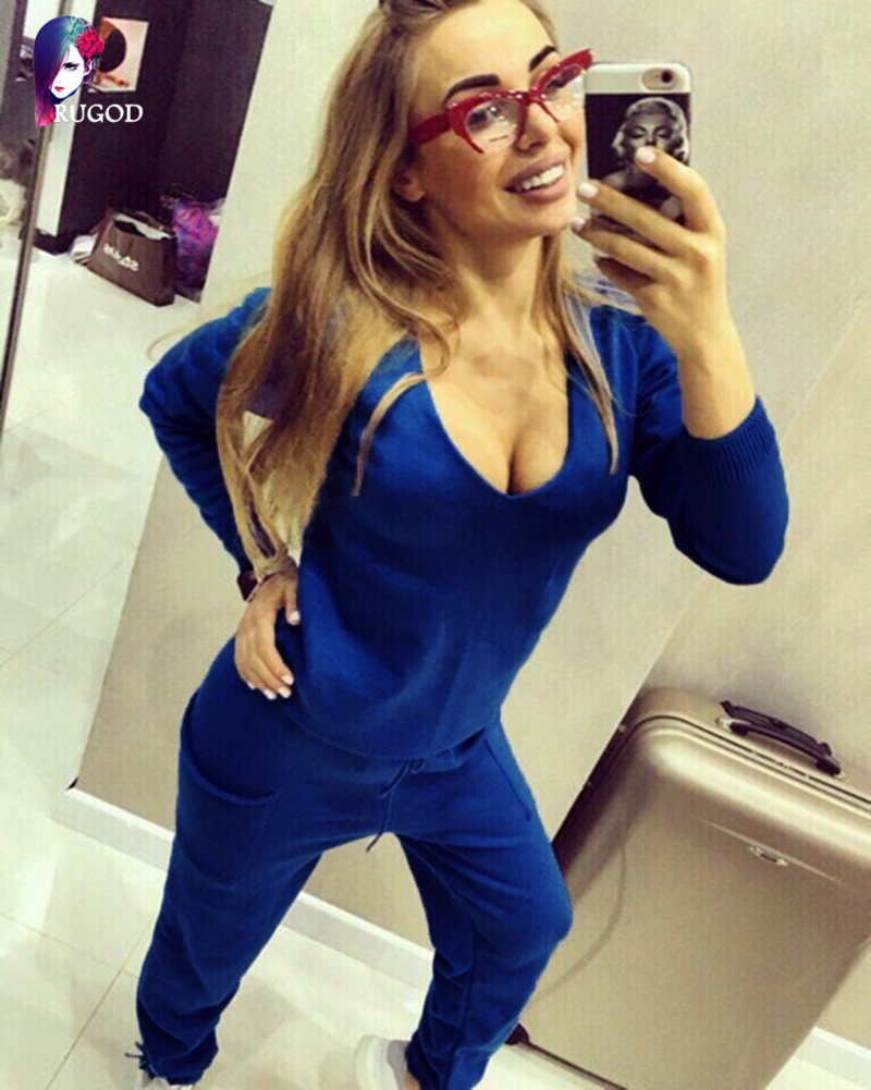 17 Hot 2 Pieces Set Women V-Neck Sexy Knitted two pieces sets Spring Suits Tracksuit Sweater top+ Pants Set Womens Casual Suit 7