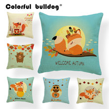 Cartoon Clouds Pillow Cushion Cover Sheep Mushroom Umbrella Balloon Throw Pillows Bear Hippo Raccoon Home Sofa Decor 43*43 cm(China)