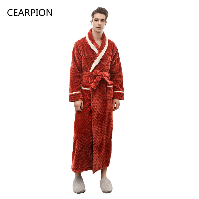 CEARPION New Arrival Men Winter Robe Thick Warm Spa Home Wear Male Long Sleeve Flannel Kimono Bathrobe Gown Solid Negligee