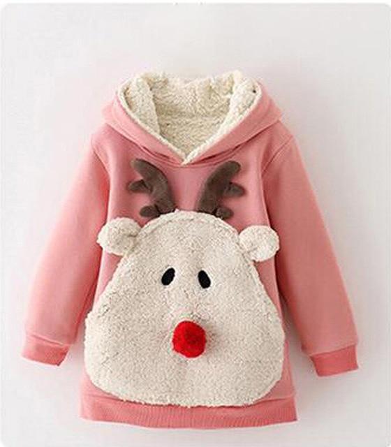 Winter Costume for Girls High Quality Cartoon Fawn Cotton Sweatshirt Korean Children Plus Velvet Sweatshirts Girl Winter Clothes