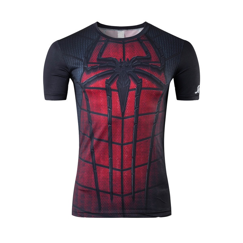 2016 super hero spider-man tight clothes men's news fitness round collar cultivate one's morality short sleeve T-shirt
