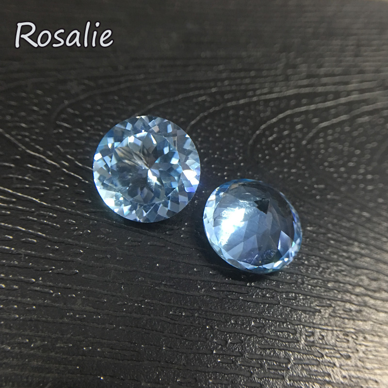 Rosalie,Natural Brazil sky blue topaz round 12mm 7ct loose real gemstone for silver jewelry special cut DIY jewelry design rosalie natural loose gemstone brazil real sky blue topaz oval 6 8mm 3 pc 4 5ct in one lot gemstone for silver jewelry mounting