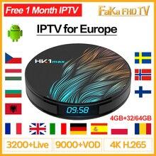 Europa subskrypcja IPTV HK1 Max Smart TV Box z systemem Android 9.0 arabski francuski IPTV francja kanada hiszpania portugalia włochy wielka brytania turcja IP telewizor z dostępem do kanałów