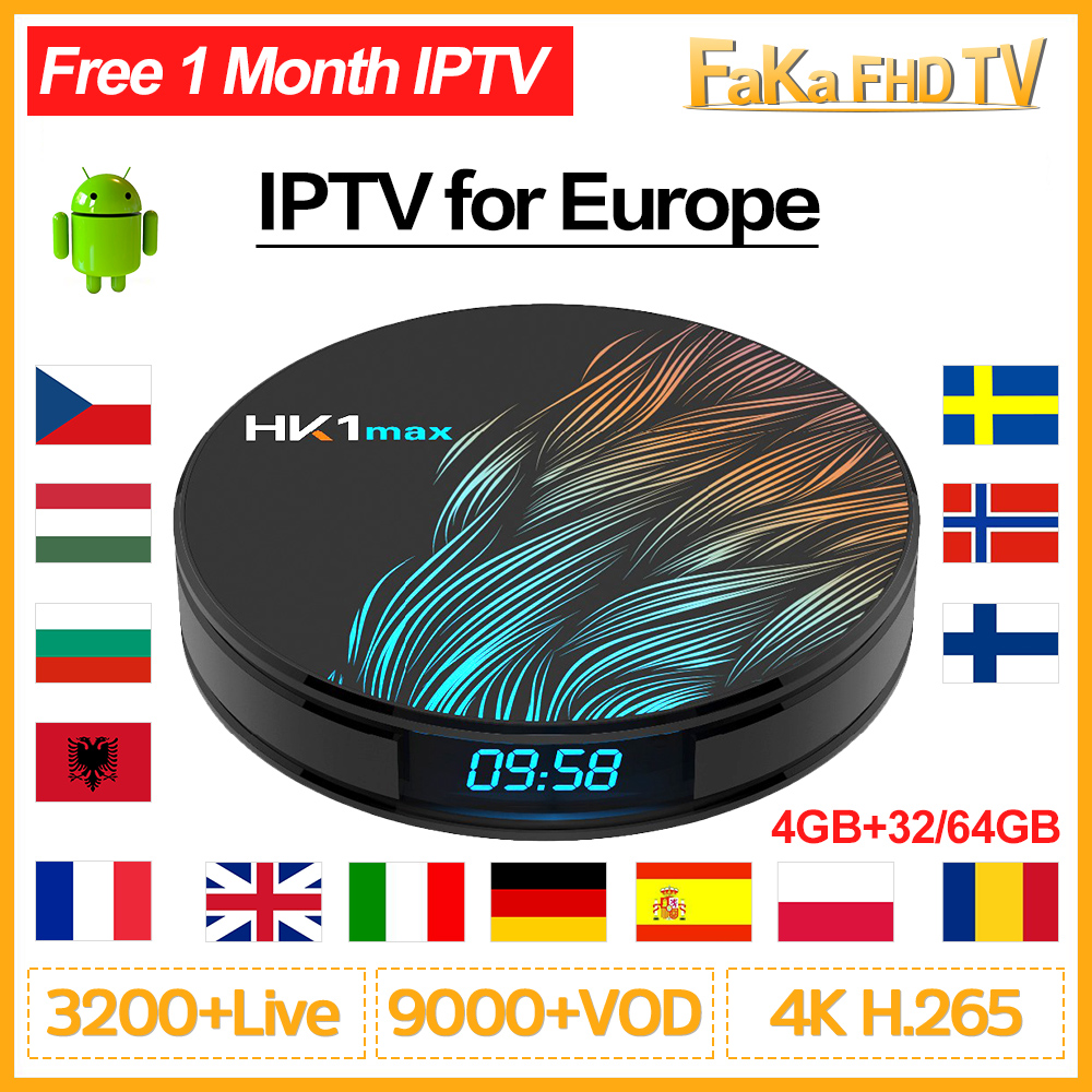 Europe IPTV Subscription HK1 Max Smart TV Box Android 9.0 Arabic French IPTV France Canada Spain Portugal Italy UK Turkey IP TV-in Set-top Boxes from Consumer Electronics