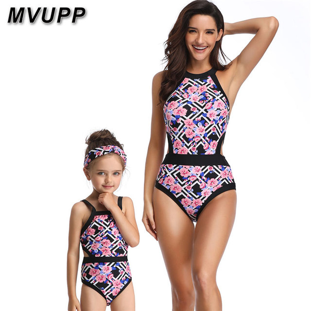 fb5bd857ebdf1 mother daughter swimsuit Floral high waist striped bikini set toddler girls  summer matching bathing suit mommy