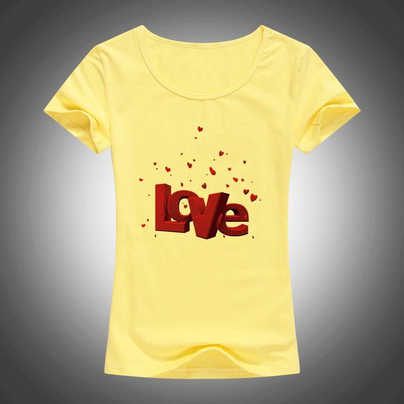 Sommer Neue Frauen T Shirts Valentinstag Liebesbrief Gedruckt T - Damenbekleidung - Foto 4