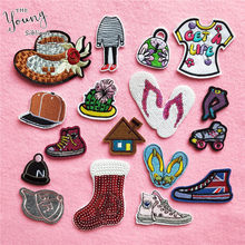 Cartoon huis Patch Borduurwerk Schoenen Stickers Leuke Cap Ijzer Op Patches Voor Kleding DIY Decor Doek Dress Tassen Leuke Accessoire(China)