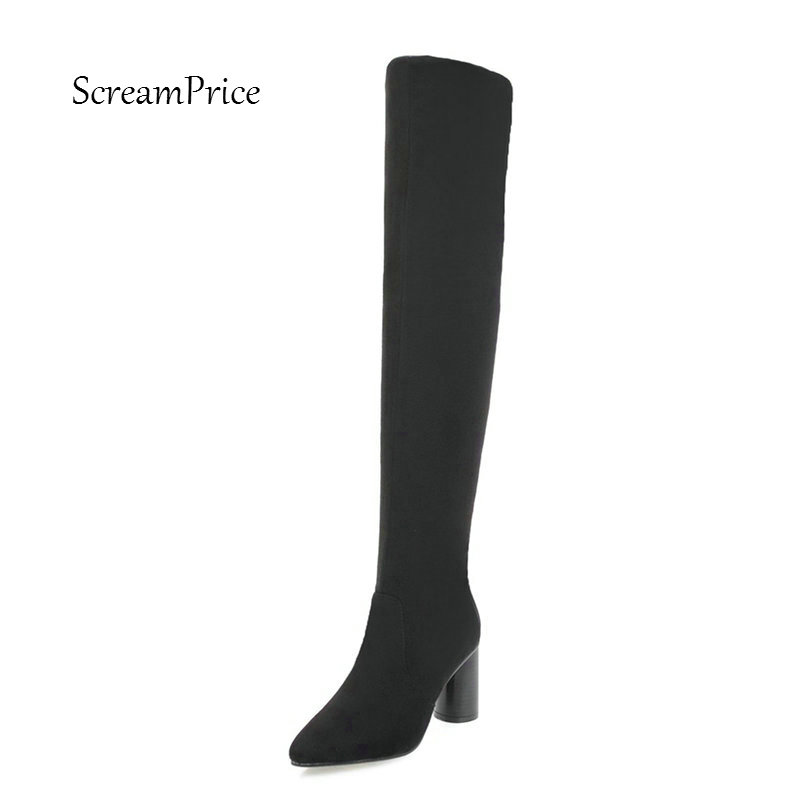 Women Faux Suede Slip On Comfortable Square Heel Thigh Boots Fashion Pointed Toe Warm Winter Shoes Gray B women kid suede lace up comfortable square heel knee high boots fashion pointed toe keep warm winter shoes black khaki