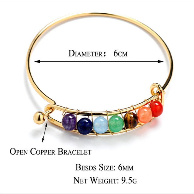 7 Chakra Stone Bangels Natural Stone Bracelet&Bangles Gold&Sliver Color Purple Crystal Bracelet Jewelry Women 5