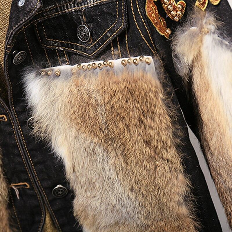 De Denim 2 Femmes Chaud Courte Lapin Costume Deux Ensemble Veste Chic Pantalon Vintage Marée Piece Décontracté Jeans Lot Set Cheveux Mode Réel Pièces Hauts ccZr10f4