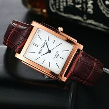 WOMAGE Classic Square Shape Figure PU Quartz Watch