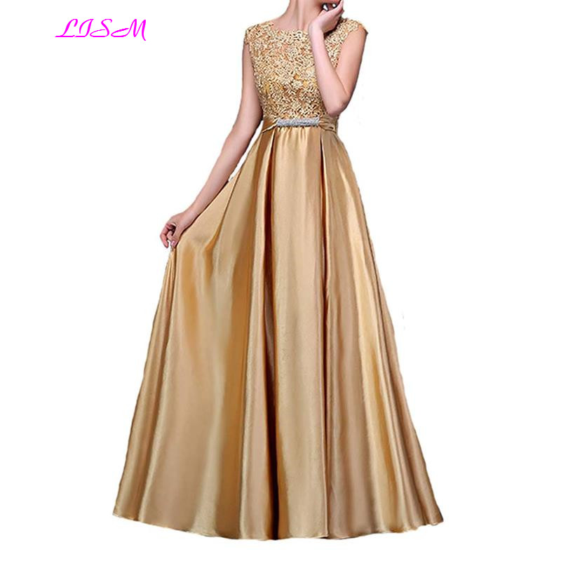 A Line Long Prom Party Dress Gold Appliques Beaded Sash Satin Evening Gowns V Back formal dress women elegant robe de soiree