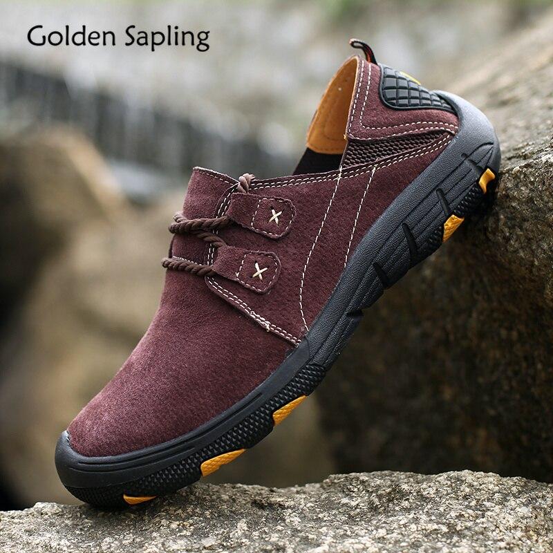 Golden Sapling Soft Leather Hiking Shoes Men Breathable Summer Outdoor Men s Sneakers Mountain Trekking Climbing