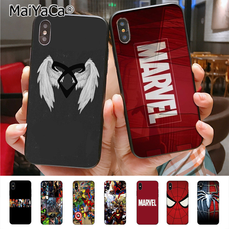 MaiYaCa Marvel Comics logo Character  Hot Selling Fashion phone case cover for iPhone X 8plus 7 6splus 5s se 5c 7plus case Cover чехлы марвел
