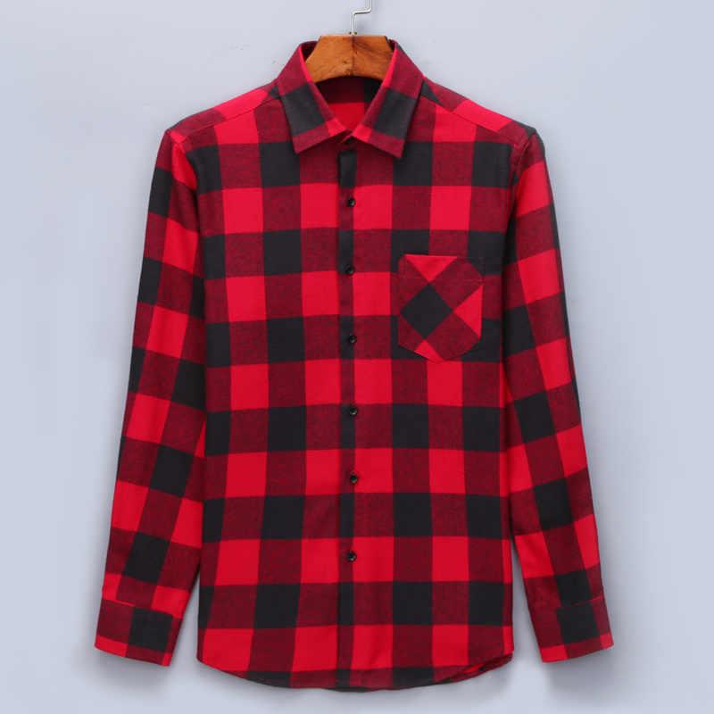 7b2d7c9d612179 ... Men Flannel Plaid Shirt 100% Cotton 2019 Spring Autumn Casual Long  Sleeve Shirt Soft Comfort ...
