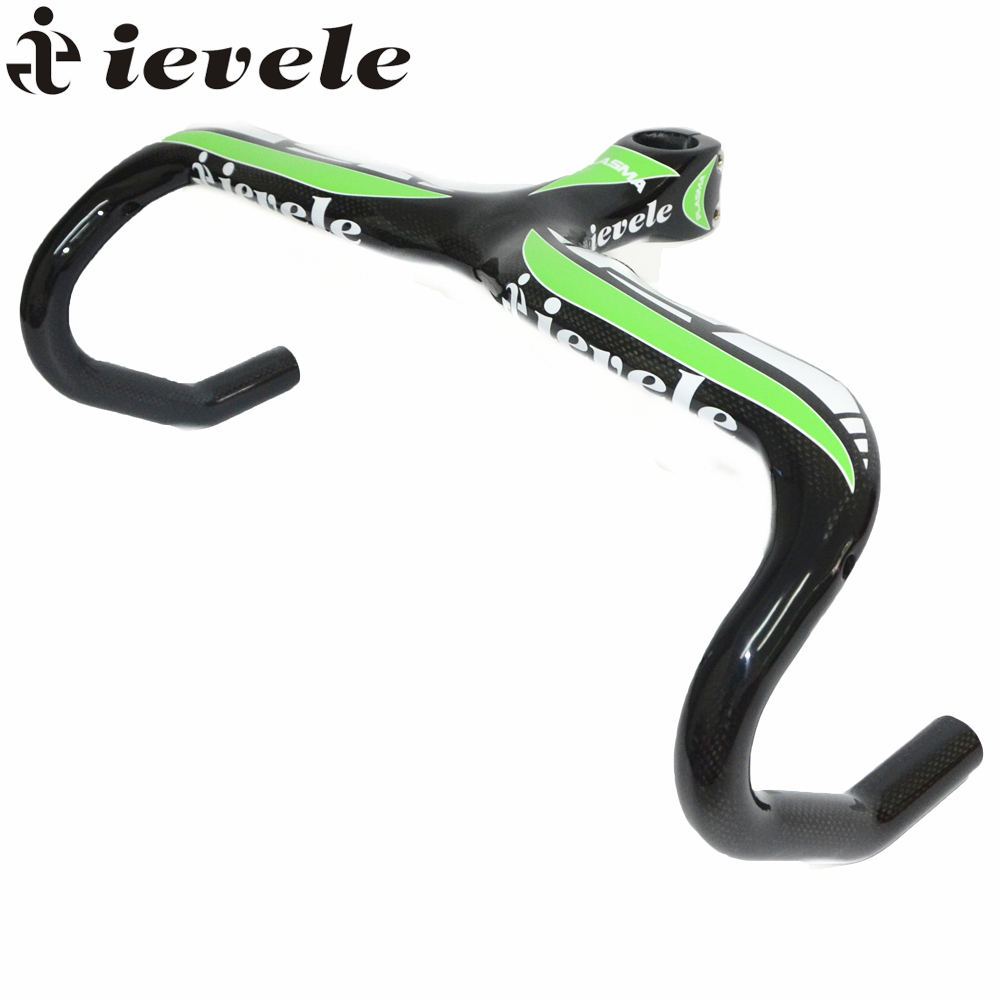 ievele full carbon road handlebar racing road bike handlebar bicycle carbon integral handlebar size 400/420/440*90/100/110/120mm bicycle handlebar carbon fibre road integrated bike handlebar road mountain bike accessories 400 420 440 90 100 110 120mm