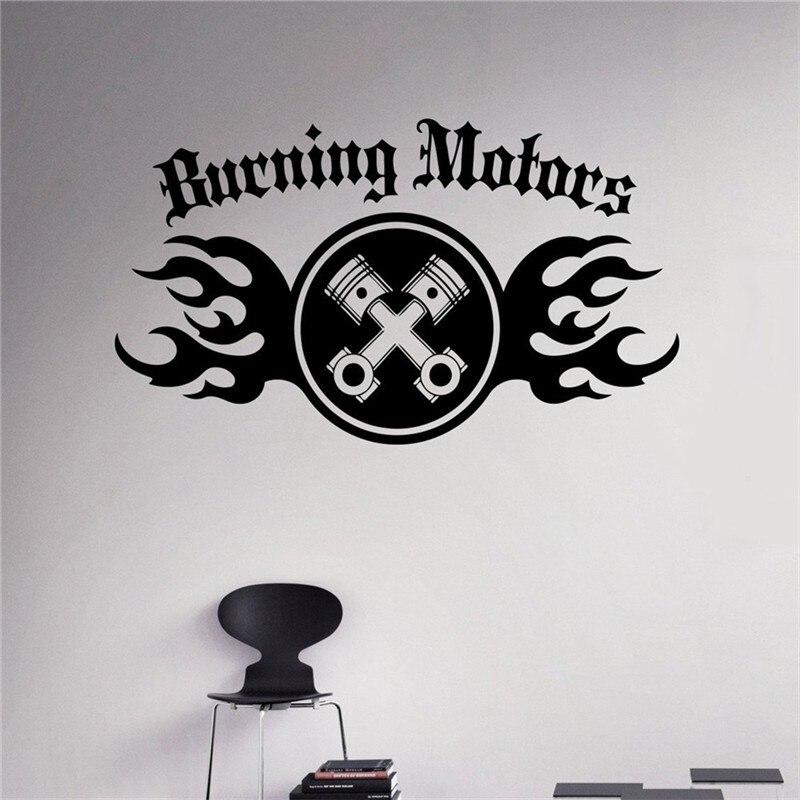 New Arrival Burning Motors Wall Decal Auto Machine Vinyl