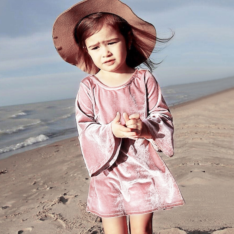 Fashion Pleuche Girl Dress Long Bell Sleeve Pink Children Dress Velvet Toddler Dress European Girls Clothing