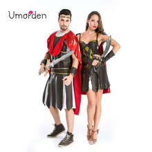Umorden Halloween Party Adult Men Women Roman Greek Soldier Gladiator Costume Spartan Warrior Costumes Cosplay for Couple 2 Set