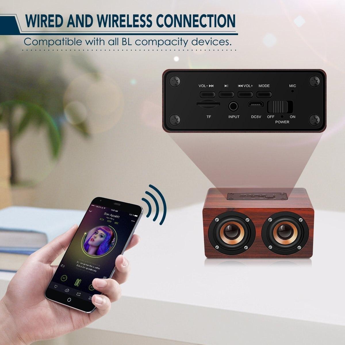 HOT-Retro Wooden Bluetooth Speaker HIFI Wireless Dual Loudspeakers 3D Surround Speaker 4