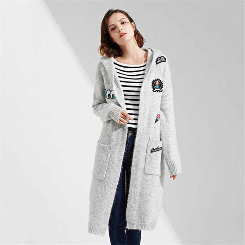 High Quality Long Cardigan Women Hooded Sweater 2018 New Autumn Winter Long Sleeve Knitted Cartoon applique
