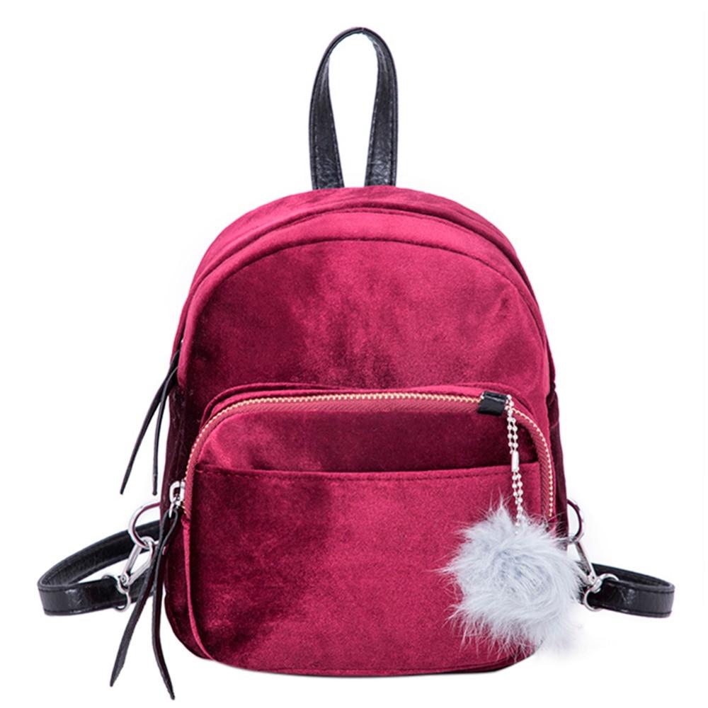 2018 New Women Soft Velvet Backpack for Teenager Girls School Bookbag Female Small Travel Backpack mujer bolsos Elegant Backpack