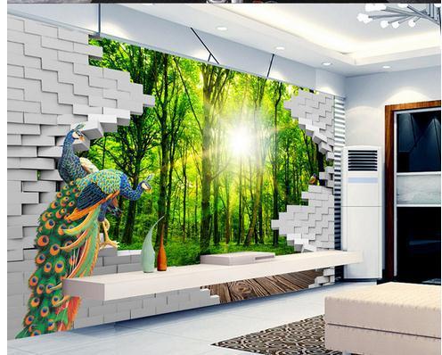 Carta da parati 3d parete di verde foresta 3d wallpaper for Stickers pareti