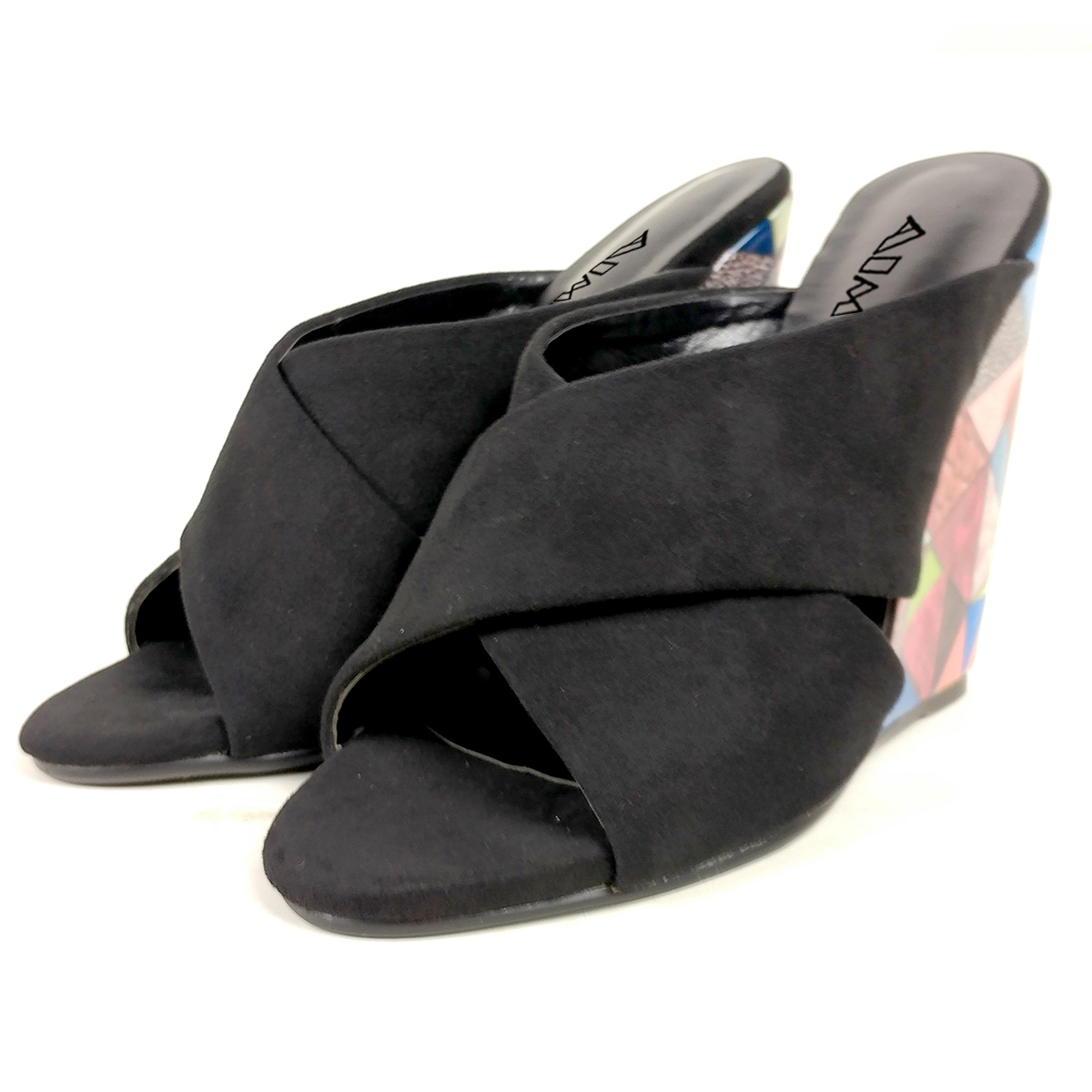 Ladies Womens Faux Leather Wedge Heel Flower Summer Mules Sandals Shoes Size