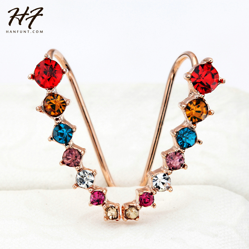 Top Quality New Four-Prong Setting 7pcs CZ Crystals Rose Gold Color Ear Cuff Stud Earrings Jewelry Wholesale E527 E534 E548