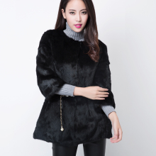 Guarantee real rabbit fur jacket women 2016 autumn winter O neck full pelt natural rabbit fur coat outerwear plus size S -XXXL